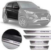Soleira de Aço Inox Premium Escovado Hyundai Creta 2017 18 19