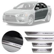 Soleira de Aço Inox Premium Escovado Mitsubishi Lancer 2011 12 13 14 15 16 17