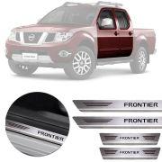 Soleira de Aço Inox Premium Escovado Nissan Frontier 2008 09 10 11 12 13 14 15 16 17 Cabina Dupla