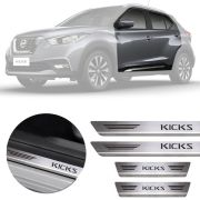 Soleira de Aço Inox Premium Escovado Nissan Kicks 2016 17 18 19