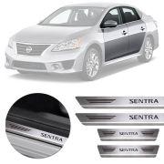 Soleira de Aço Inox Premium Escovado Nissan Sentra 2008 09 10 11 12 13 14 15 16 17 18