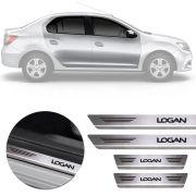 Soleira de Aço Inox Premium Escovado Renault Logan 2014 15 16 17 18 19