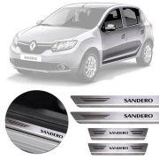 Soleira de Aço Inox Premium Escovado Renault Sandero 2013 14 15 16 17 18 19