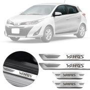 Soleira de Aço Inox Premium Escovado Toyota Yaris Hatch Sedan 2018 19