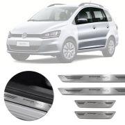 Soleira de Aço Inox Premium Escovado Volkswagen Spacefox 2012 13 14 15 16 17 18 19