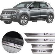 Soleira de Aço Inox Premium Escovado Volkswagen T-Cross Tcross 2018 19 20