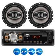 SOM AUTOMOTIVO MP3 HR 412 ENTRADA USB COM 2 ALTO FALANTES 4