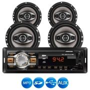 SOM AUTOMOTIVO MP3 HR 412 ENTRADA USB COM 4 ALTO FALANTES 4