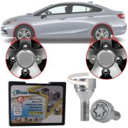 Trava Antifurto Anti Roubo de Roda Parafuso Porca Farad Starlock Chevrolet Cruze 2012 à 2018 Com Mais de 10.000 Segredos H/E