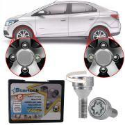 Trava Antifurto Anti Roubo de Roda Parafuso Porca Farad Starlock Chevrolet Prisma 2013 em Diante Com Mais de 10.000 Segredos H/E