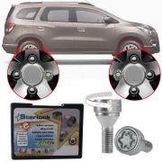 Trava Antifurto Anti Roubo de Roda Parafuso Porca Farad Starlock Chevrolet Spin 2013 à 2019 Com Mais de 10.000 Segredos H/E