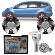 Trava Antifurto Anti Roubo de Roda Parafuso Porca Farad Starlock Nissan Grand Livina 2009 à 2014 Com Mais de 10.000 Segredos R1/E