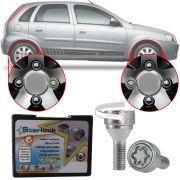 Trava Parafusos Porcas Antifurto Roubo Farad Starlock Chevrolet Corsa Hatch 2002 Até 2012 Com Mais de 10.000 Segredos I3/E