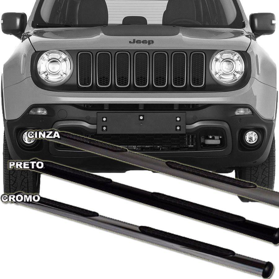 Estribo Lateral Oblongo Jeep Renegade 2015 16 17 18 19 Preto / Cinza / Cromado