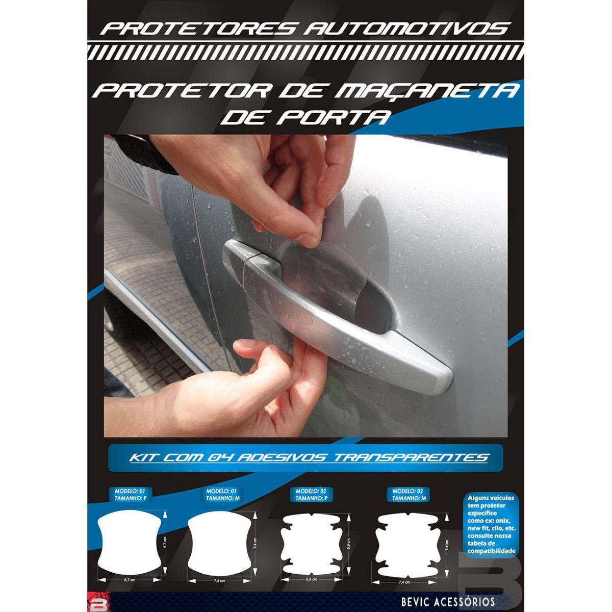 Kit Protetor de Maçaneta Película Adesivo Incolor 4 Peças Protege contra Riscos de Unhas