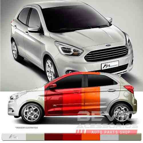 Friso Lateral Transparente Ford Ka 2015 16 17 18 19 Adere a cor do carro