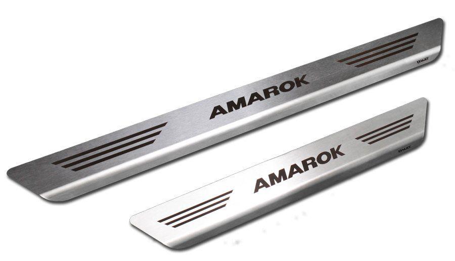 Soleira de Aço Inox Premium Escovado Volkswagen Amarok 2011 12 13 14 15 16 17 18 19 Cabine Dupla