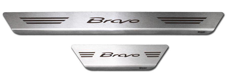 Soleira de Aço Inox Premium Escovado Fiat Bravo 2011 12 13 14 15 16 17 18 19
