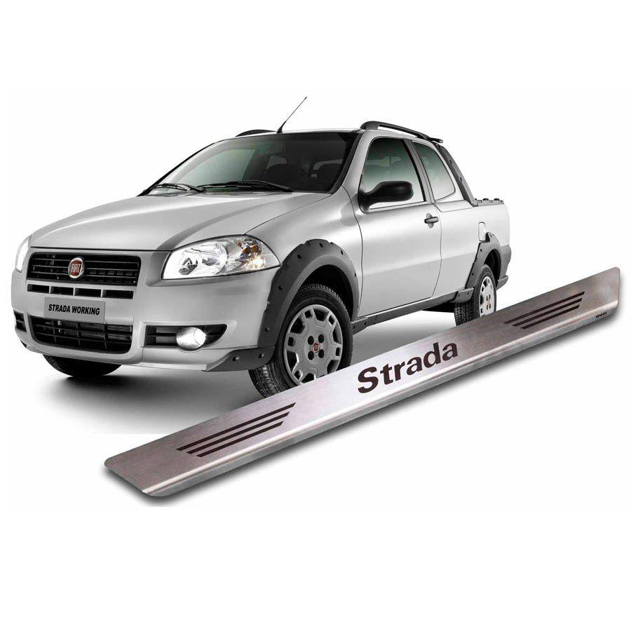 Soleira de Aço Inox Premium Escovado Fiat Strada 1998 a 2019 Cabine Simples