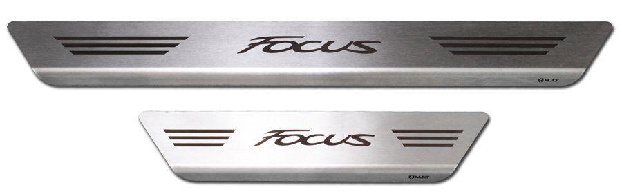 Soleira de Aço Inox Premium Escovado Ford Focus 2013 14 15 16 17 18 19