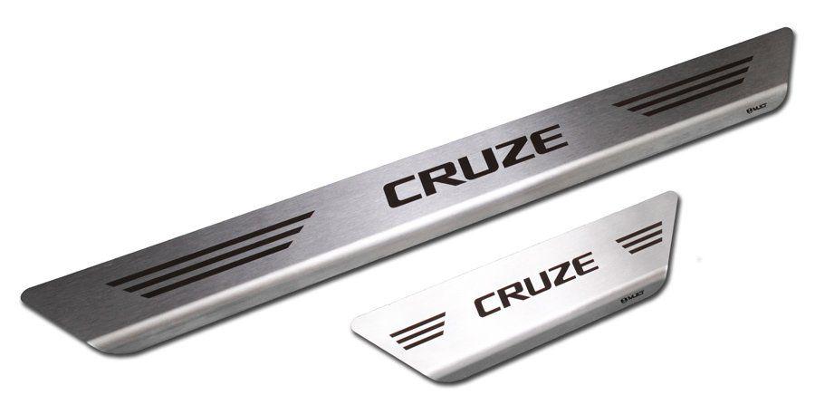 Soleira de Aço Inox Premium Escovado Chevrolet Cruze 2012 13 14 15 16 17