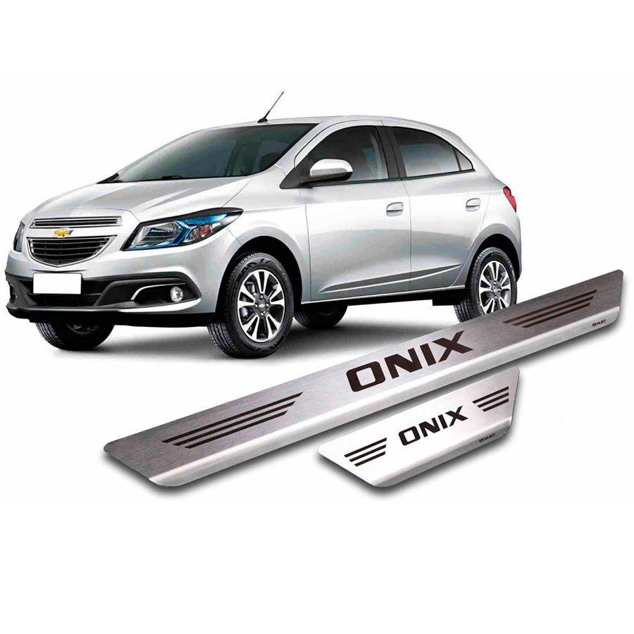 Soleira de Aço Inox Premium Escovado Chevrolet Onix 2012 13 14 15 16 17 18 19