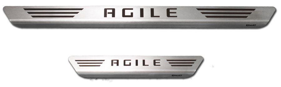 Soleira de Aço Inox Premium Escovado Chevrolet Agile 2009 10 11 12 13 14 15 16