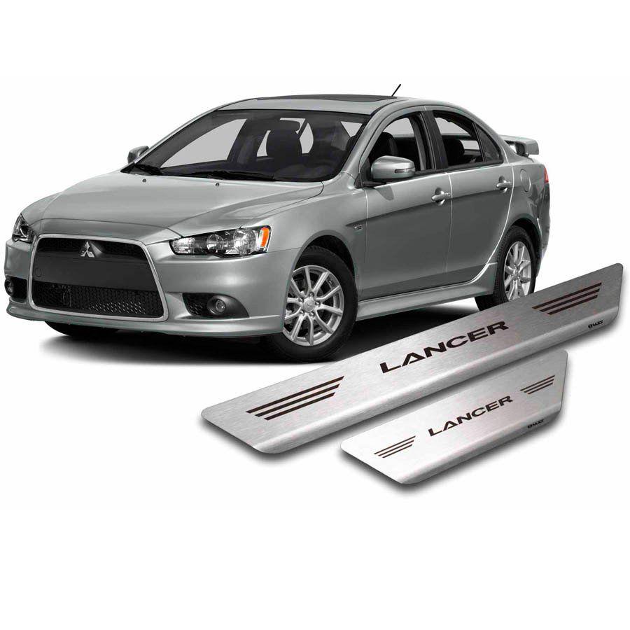 Soleira de Aço Inox Premium Escovado Mitsubishi Lancer 2011 12 13 14 15 16 17 18 19 20