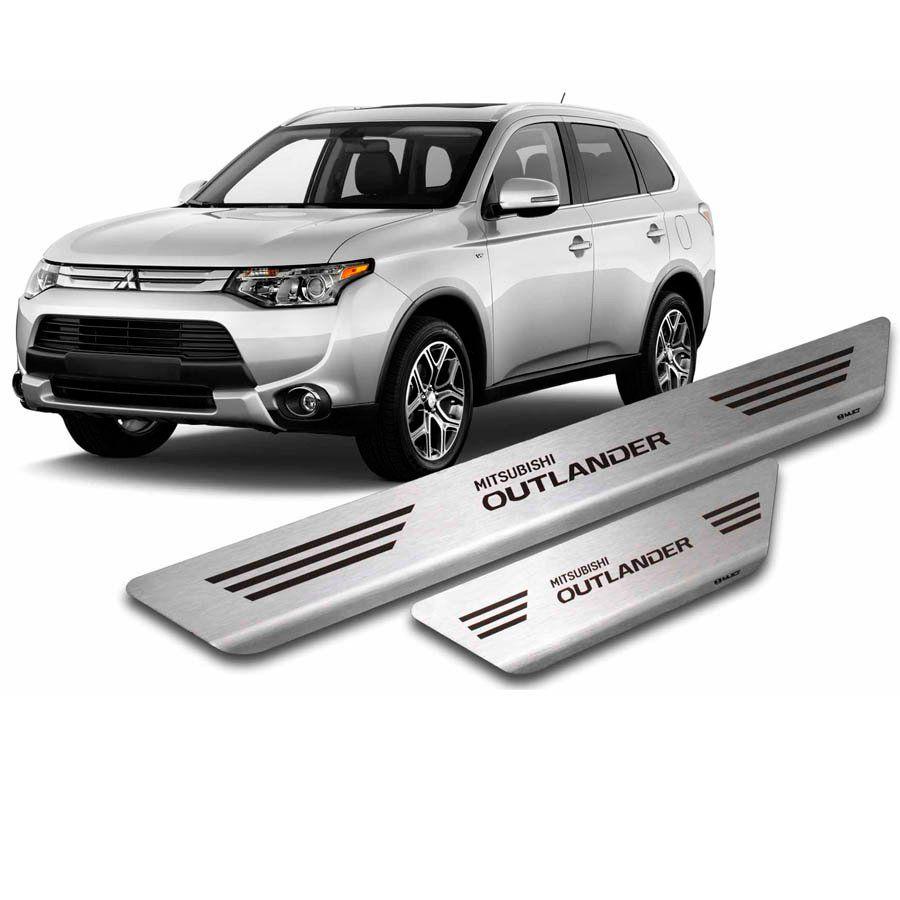 Soleira de Aço Inox Premium Escovado Mitsubishi Outlander 2014 15 16 17 18 19