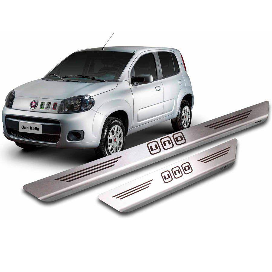 Soleira de Aço Inox Premium Escovado  Fiat Novo Uno 2011 12 13 14 15 16 17 18 19