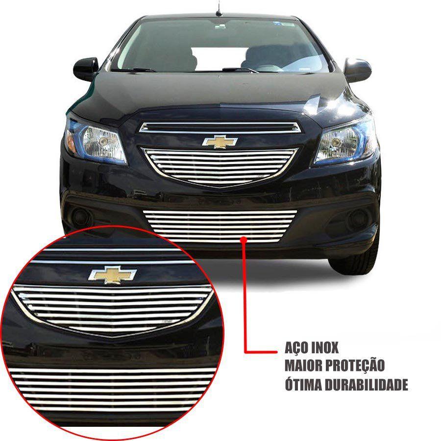 Sobre Grade Chevrolet Prisma 2013 A 2016 Cromada Aço Inox