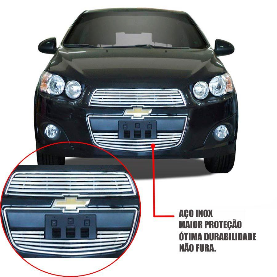 Sobre Grade Chevrolet Sonic 2012 A 2016 Cromada Aço Inox Slim