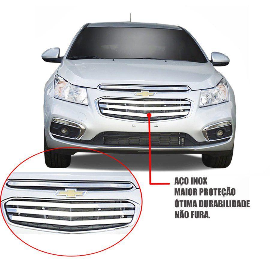 Sobre Grade Chevrolet Cruze 2015 2016 Cromada Aço Inox Slim