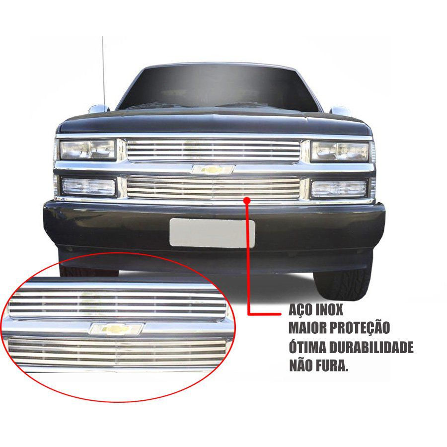 Sobre Grade Chevrolet Silverado 1991 A 1999 Cromada Aço Inox Elite
