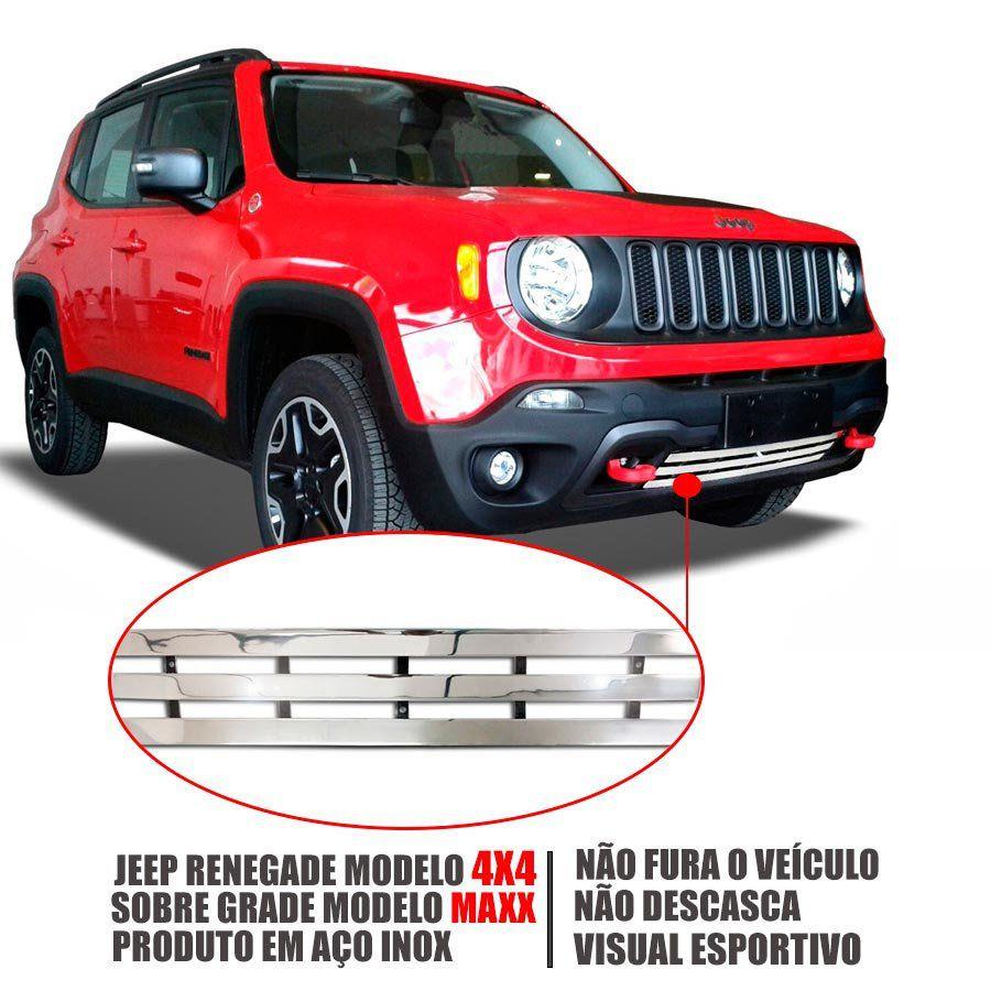 Sobre Grade Jeep Renegade 4x4 2015 A 2018 Cromada Aço Inox Max