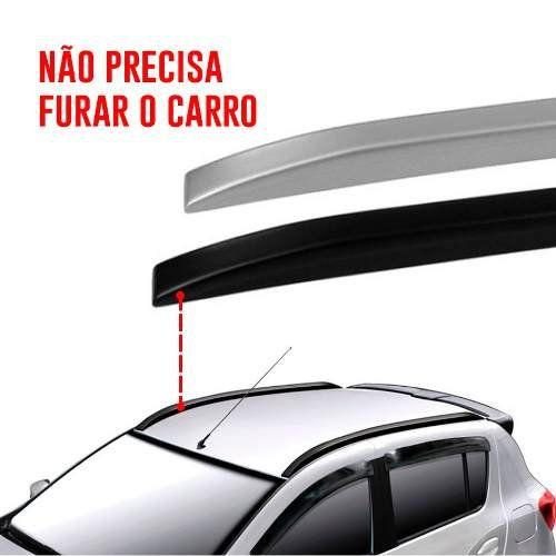 Rack de Teto Longarina Slim Decorativo Ford Fiesta 2004 05 06 07 08 09 10 11 12 New Fiesta 2013 14 15 16 17 18 19 Prata Preto 2 Peças Fácil Aplicação Dupla Face