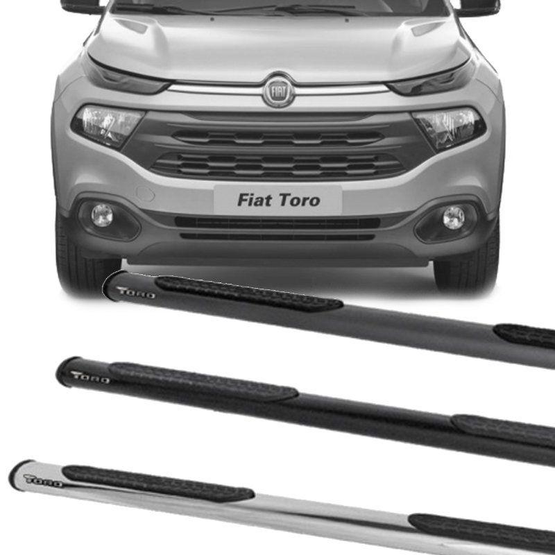 Estribo Lateral Oblongo Fiat Toro 2016 a 2019 Cabine Dupla Preto / Onix / Cromado