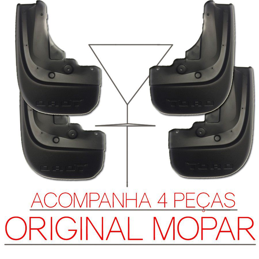 Kit Flap Apara Para Barro Lameiro Fiat Toro 2016 17 18 19 Mopar Original Dianteiro e Traseiro