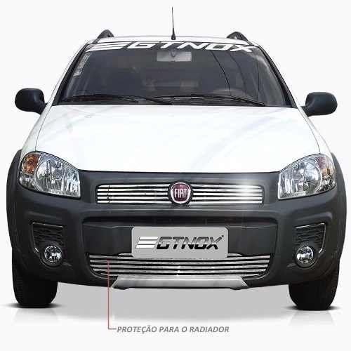 Sobre Grade Fiat Strada 2014 Cromada Aço Inox Slim