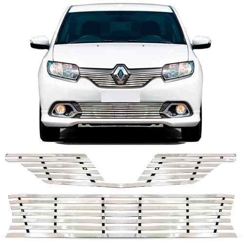Sobre Grade Renault Logan 2014 A 2018 Cromada Aço Inox Elite