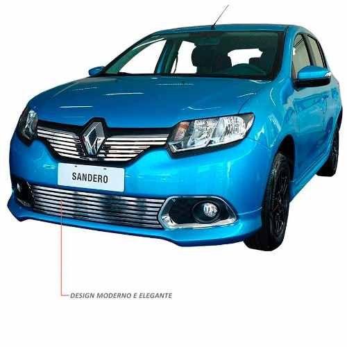 Sobre Grade Renault Sandero 2014 A 2016 Cromada Aço Inox Elite