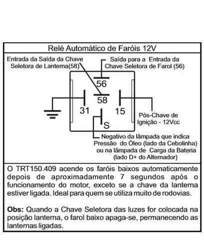 Relê para Acionamento Automático de Farol Baixo Automotivo