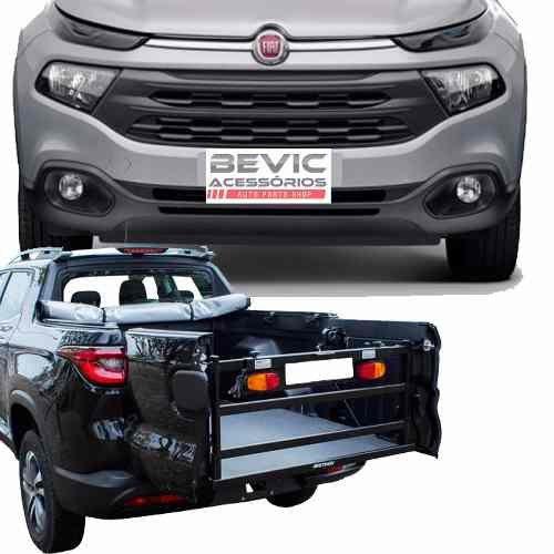 Extensor de Caçamba Picape Fiat Toro 2016 17 18 19 Dobrábel Com Chapa Extensora