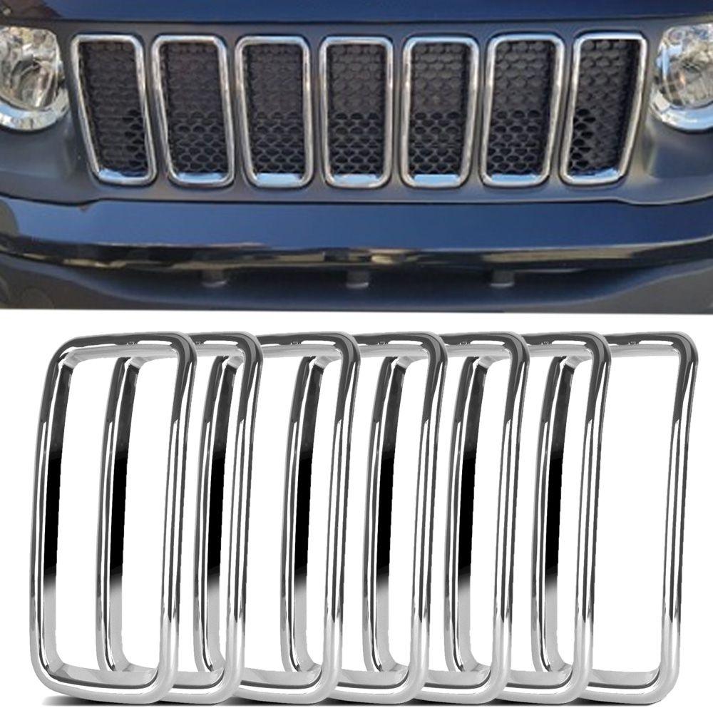 Aplique Aro Cromado Grade Dianteira Jeep Renegade 2019 Em Diante Encaixe Perfeito