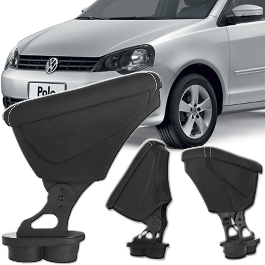Apoio Descansa Braço Com Porta Objetos Rebatível Volkswagen Polo 2002 Até 2017