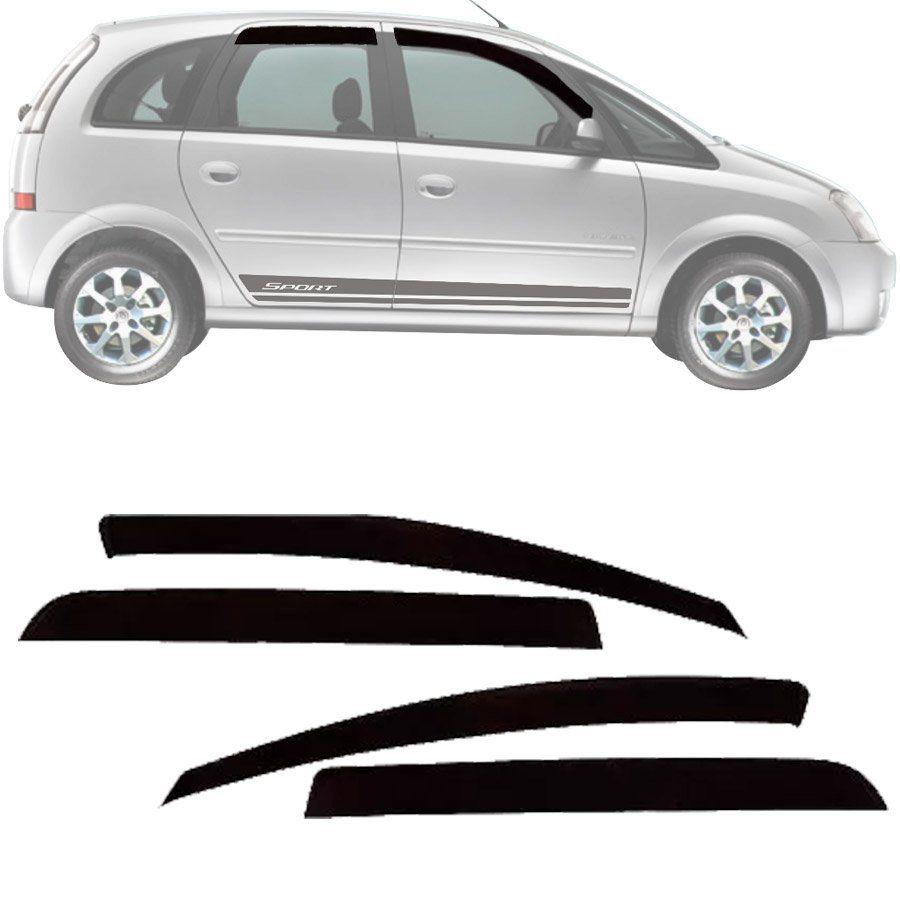 Calha de Chuva Esportiva Chevrolet Meriva 2003 Até 2012 Fumê Tg Poli