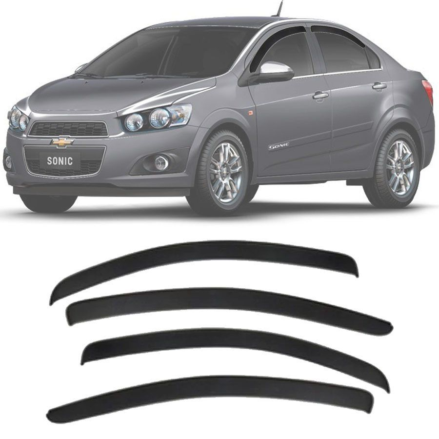 Calha de Chuva Esportiva Chevrolet Sonic Sedan 2011 12 13 14 Fumê Tg Poli