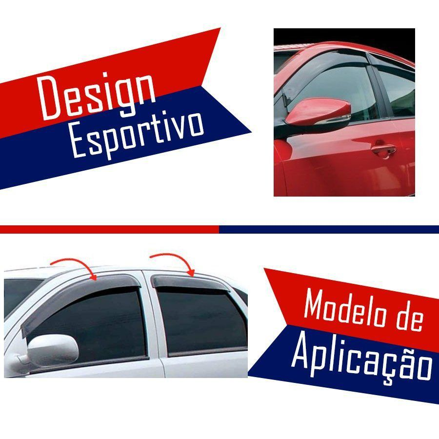 Calha de Chuva Esportiva Ford Fiesta 1996 97 98 99 00 01 02 03 4 Portas Fumê Tg Poli