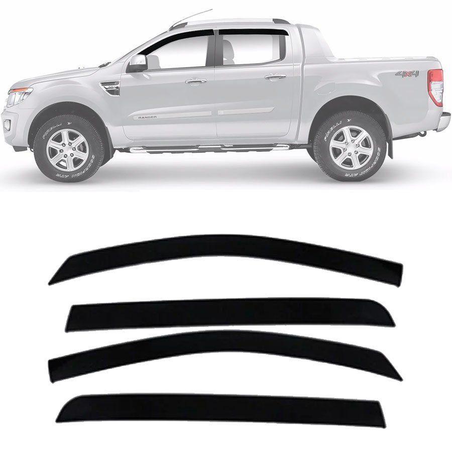 Calha de Chuva Esportiva Ford Ranger 2013 14 15 16 17 18 19 20 Cabine Dupla Fumê Tg Poli
