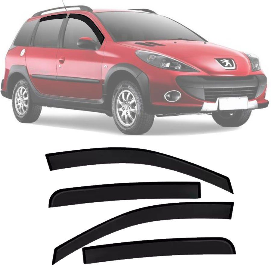 Calha de Chuva Esportiva Peugeot 206 / 207 Sw 2000 Até 2011 4 Portas Fumê Tg Poli